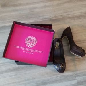 Vince Camuto Stylish Brown Suede Heels 7.5